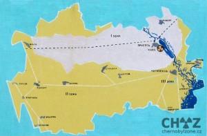 Mapa černobylské zóny