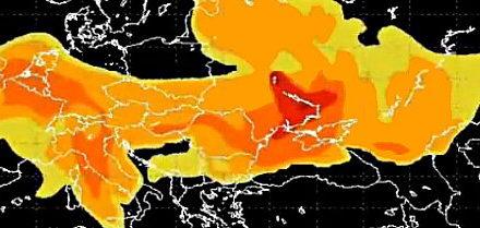 Šíření radioaktivního mraku nad Evropou