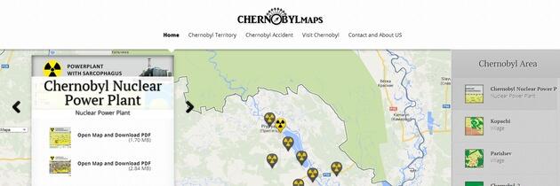 Podrobné mapy černobylské zóny