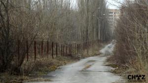 Ostnatý plot v ulicích Pripjati