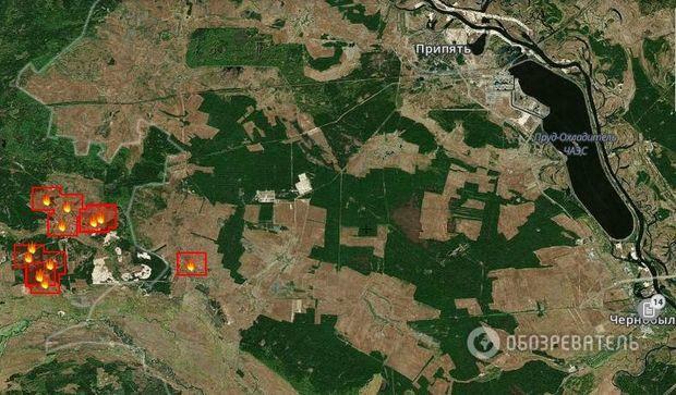 29.4.2015 - Požár v černobylské zóně. Zdroj: fires.kosmosnimki.ru