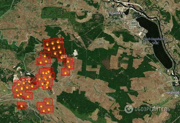 27.4.2015 - Požár v černobylské zóně. Zdroj: fires.kosmosnimki.ru