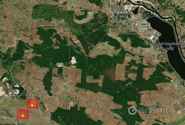 26.4.2015 - první výskyt ohně. Zdroj: fires.kosmosnimki.ru