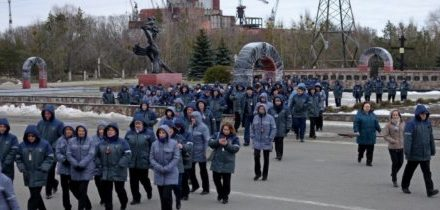 Foto: Požární cvičení v Černobylské elektrárně
